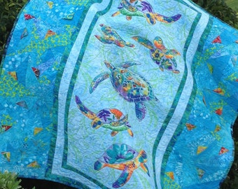 Turtle Quilt, Handmade Quilt, Baby Quilts, Modern Quilt, Ocean Quilt, Baby Bedding Sets, Nursery Bedding Sets, Toddler Quilts, 3D Quilts
