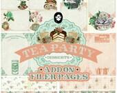 Digital Journal Kits - Add On Tea Party Desserts - 8 journal pages - gratitude journal, floral journals, rose journaling kit, recipe binder