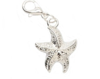 Lobster Clasp Charm - Starfish - .5625 x .75