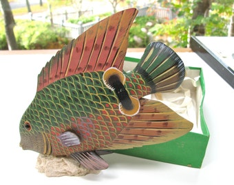 Painted wood fish, handmade, carved fish, 7 inches tall, 7 and 1/2 inches long. Coral base, pink, green, tan, red and brown, home decor