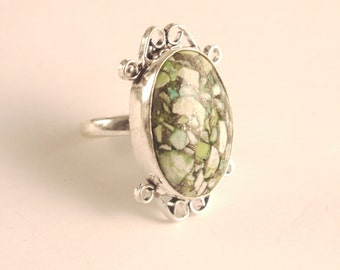 Mosaic Turquoise  Sterling Silver 925 Ring size 7