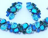 Alice Caviness Rhinestone AB Peacock Bracelet Earring Set Pristine