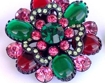 Selro Selini Rhinestone Glass Japanned Brooch