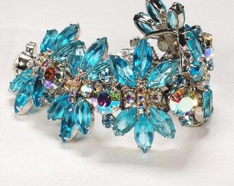 Juliana D&E Aqua AB Rhinestone Bracelet Huge Pristine
