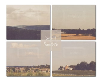 Dreamy Landscape Art | Set of 4  | Inspirational Photography Prints | Relax Simplify Breathe Enjoy | Typography | Quotes