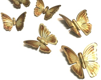 Vintage BUTTERFLY 3D Wall Art / Decor - Brass Tin - Set of 6