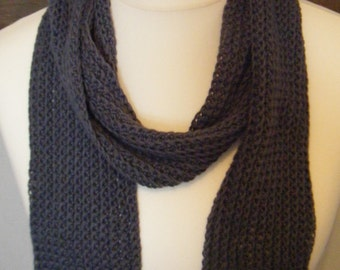 Crochet Cotton Textured Scarf Charcoal Grey