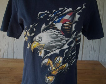 Vintage American Eagle T-Shirt, Patriotic Tee, Unisex, Mid 90's, Youth Size Medium, Back To School