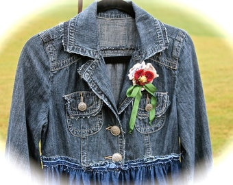 Boho Indigo Rustic Coat Gypsy Cowgirl Rodeo Sweetheart American Tribal