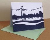 Single Oakland Lake Merritt Linocut Card in Navy Blue