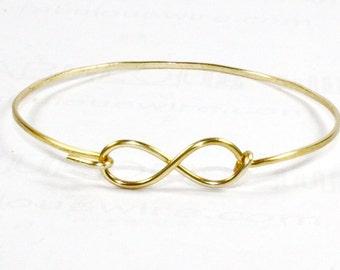 Infinity Bangle Bracelet, Gold Wire Infinity Bangle Bracelet, Infinity Love Friendship Jewelry, Eternity Forever Bracelet