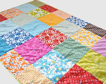 Flower Quilt - Lap Quilt - Toddler Quilt - Crib Quilt - Rainbow Blanket - Robert Kaufmann Fabric