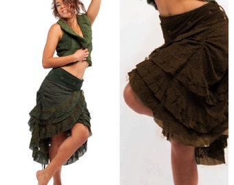 FLAMENCO SKIRT, wrap Skirt, GYPSIE skirt, Parachute skirt, rouched skirt, Mfsknp