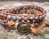 Beaded Wrap Bracelet, Wrap bracelet, Beaded LeatherWrap, Boho Bracelet, Beaded Wrap, Jasper - 800