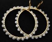 FACETED QUARTZ BEADED Hoop-Drop Earrings - Solid Brass 57mm Long - Fine Jewelry