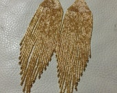 Long Wide Delica Crystal gold shiny hand beaded earrings Boho Native fringe shoulder duster chic OOAK