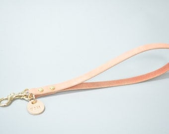 Leather Wrist Strap With Your Letter, dusty pink, leather wristlet, handmade wrist strap, personal keychain, initial keychain, monogram key