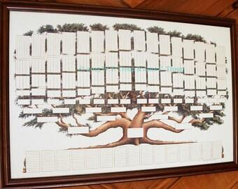 Family Tree Chart 9 Generations, Pedigree Chart, Ancestry, Genealogy, Family Tree Print, Family History, Wall Decor, Pet Pedigree