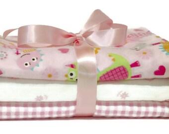 Baby girl burp cloths- flannel burp cloths- burp cloth set- cloth diaper- baby girl gifts- baby gift set- girl layette- custom burp cloth