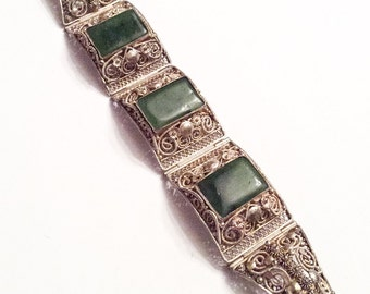 Jade Bracelet, Silver Filigree, Chinese Art Deco Vintage Jewelry SPRING SALE