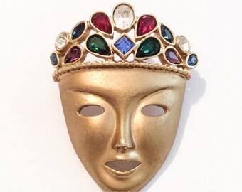 Princess Pin, Mask Brooch, Mardi Gras, Masquerade, Faux Jewels, Rhinestone, 1960s Vintage Jewelry, SUMMER SALE