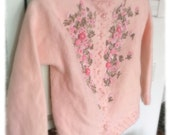 RESERVED Vintage Sweater c1950s Pink Cashmere Embroidered Silk Lining womens XS  Alternative Clothing Petite Exquisite Detail Handwork