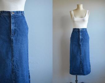 Vintage 80s Denim Skirt / 1980s Calvin Klein High Waist Indigo Denim Pencil Midi Jean Skirt