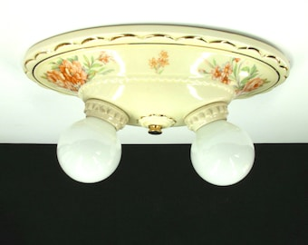 0892 Two Bulb Yellow Porcelain Bathroom Kitchen Ceiling Bulb Fixture Rewired Restored