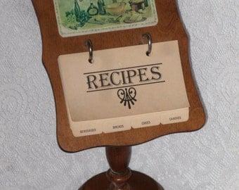 Wood Recipe Card Stand Holder Vintage
