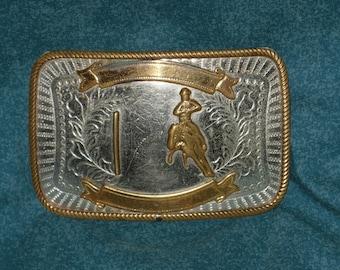Western Belt Buckle Cowboy Horse Nickel Silver Vintage