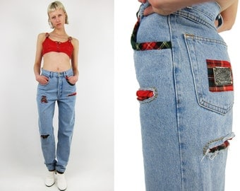 LILY FAROUCHE 80s Jeans With Plaid Details