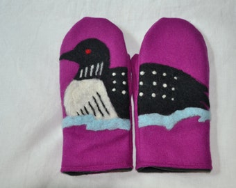 Wool mittens with felted loon