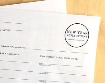 New Year Reflections Questions - Journal Prompts - New Years Resolution - New Years Printable - New Years Eve - Instant Digital Download