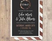 Rose gold botanical Wedding Invitation Shower Invitation Printable Invitation OR Printed Card