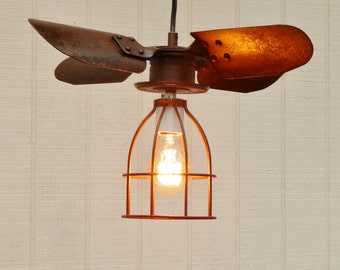 Shabby Rust Pendant Fan Blade Light - Industrial Hanging Light