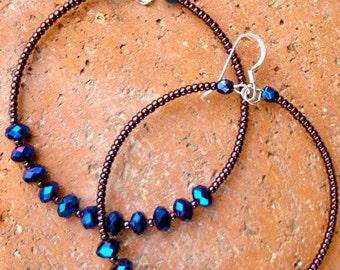 Purple Hoops, Beaded Hoop Earrings, Purple Beaded Hoops, Memory Wire Earrings