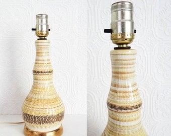 Vintage Ceramic Table Lamp Retro Yellow Neutral Bronze Glaze Genie Bottle Shape 1960s