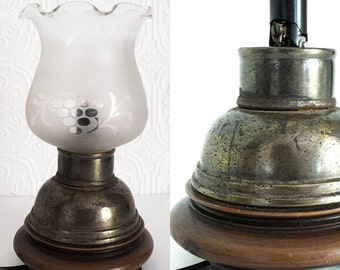Antique Brass Table Lamp Small Boudoir Art Deco Wooden Base Glass Hurricane Shade Frosted Circles and Flourishes Lighting 1930s