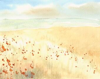 Summer Landscape Artwork Fine Art Print from Original Watercolor Study
