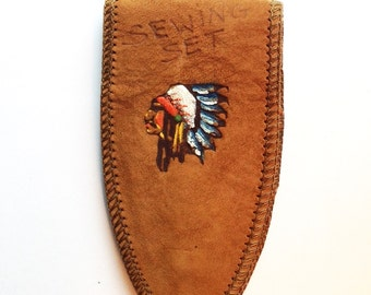 Vintage leather souvenir sewing set cover from Pendleton Oregon hand painted Native American Chief
