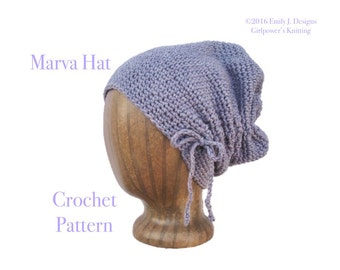 Scrunch Hat Easy Crochet Pattern, Worsted Weight Yarn, Slouchy Hat, Slouch Hat, Gathered Hat, Cute Chic Hip, Teen Girls Women