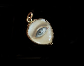 Sandra Hendler -RESERVED for Marilyn-Next Payment -Original Miniature Gray Lover's Eye Painting in 9K Gold Locket Charm, Faceted Glass