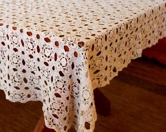 Vintage Lace Tablecloth Crochet Hand Table Cloth Linen Cotton Tan Natural