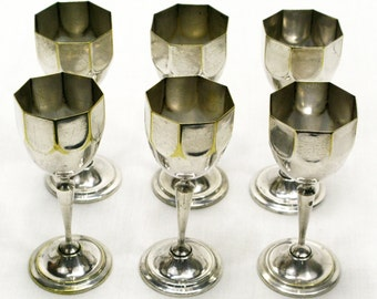 Set Of Six  French Silver Plated Chalice Shot Cups, Shot Cups, French Shot Cups, Silver Plated Shot Cups, Chalice Shot Cups (057)