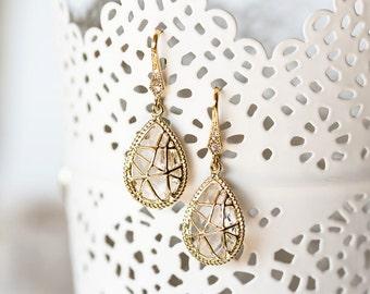 646_Cubic zirconia earrings, Gold earrings, Gold drop earrings, Bridal earrings, Teardrop earrings, Drop earrings, Earrings,  Teardrop.