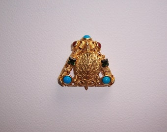 Vintage, Jeweled Turtle Brooch, Pin, Signed, Natasha Stambouli, 18K Gold Plated, Semi Precious Stones, Victorian Style