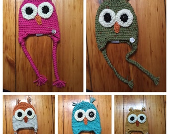 Infant Owl hat with tassels