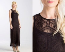 Vintage 90s CROCHET Lace Open weave MAXI Black Sleeveless Sheer Dress// Nasty Gal