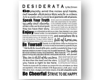 Desiderata Poem by Max Ehrmann - 8x8 0r 8x10 Print - Black and White - World to Live By - Inspirational Grad Gift - Design by Ginny Gaura