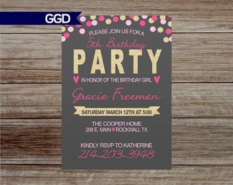 Confetti Birthday Party Invitation, Glitter birthday party invitation, Girl birthday party invitation, girl birthday-Print your own